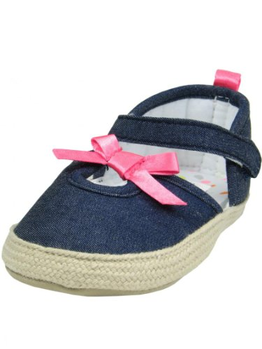 """Denim Baby Girl Espadrille Shoes With A Pink Bow By Goldbug - Chambray - 1 Infant / 6 Wks-3 Mths / 3.87-4.25"""""""