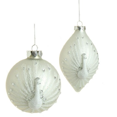 RAZ Imports - 4 inch Peacock Christmas Tree Ornaments - (Set of 2)