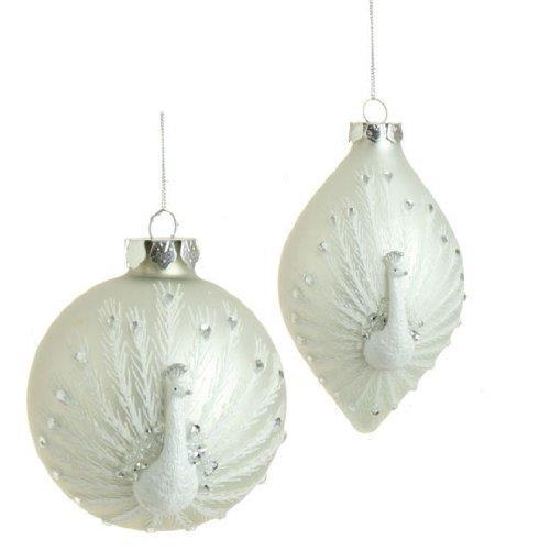 RAZ Imports - 4 inch Peacock Christmas Tree Ornaments - (Set of 2)