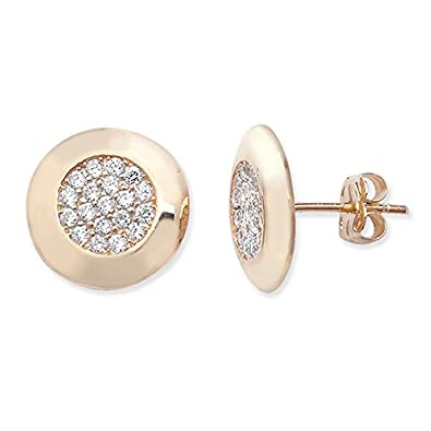 9ct Gold Fancy Round Earrings With Cubic Zirconia Detail