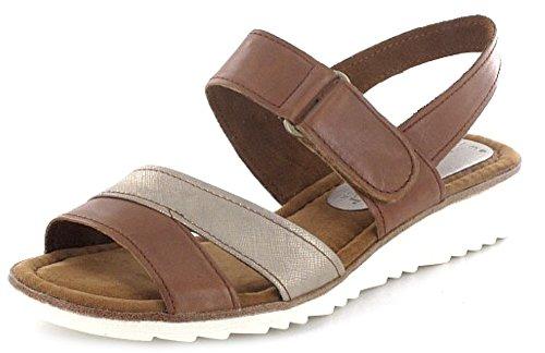 MARCO TOZZI donna cuneo sandalo simandra marrone con chiusura in velcro, Marrone (Nut), 38 EU