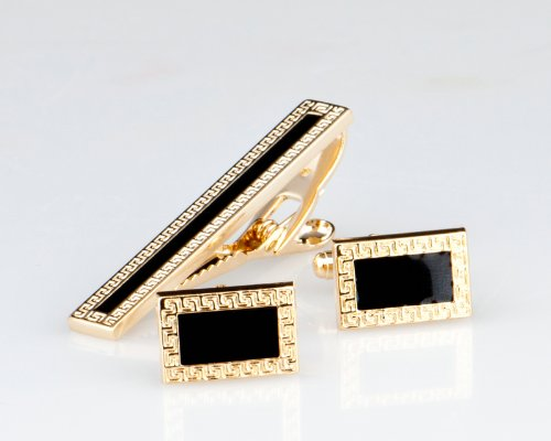 Lodestar Golden Nebula Patterned Frame Cufflink & Tieclip Set with Gift Box (B-46)