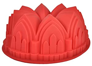 9 Round Silicone Bundt Cake Mold Pan (Crown, Church, Castle Shaped) (9 round x 3 1 2 deep) by U.S. Cake Supply