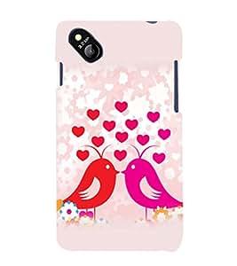 printtech Love Birds Couple Back Case Cover for MicromaxBolt D303