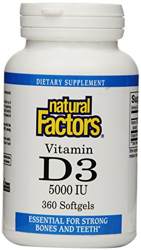 Natural Factors Vitamin D3 5000 Iu Softgels, 360 Count