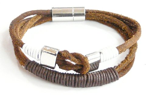 Neptune Giftware Dark Brown Leather Multi-Strap Bracelet / Leather Wristband / Surf Wristband Bracelet - (Max Wrist Size Approx. 20cm) - 180
