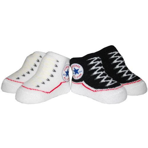 Converse 2 Pack Infant Booties 0-6 Months Black/White