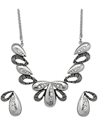 Oviya Rhodium Plated Silver Leaf Necklace Set With Crystals For Women NL2109620R