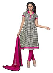 Avc Women's Cotton Unstitched Dress Material (Pink and Black)