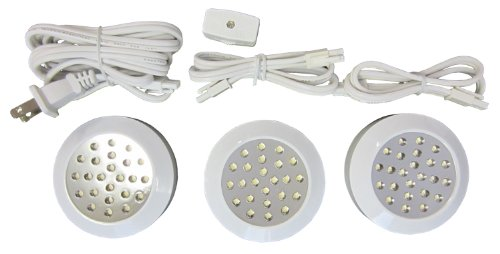 Canarm Ps3/120Wht-C Under Cabinet Led Puck-Light, White, 3-Pack