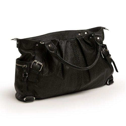 Kids Line Whipstitch Satchel Diaper Bag, Black
