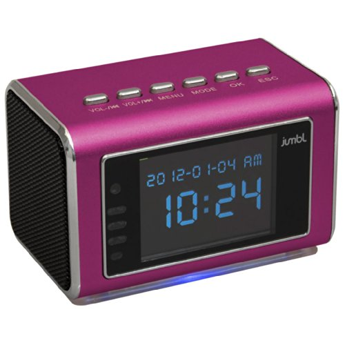 Jumbl™ Mini Hidden Spy Camera Radio Clock W/Motion Detection & Infrared Night Vision - Built-In Screen, Speaker, Micro Sd Slot & Aux Line In - Standalone Operation W/O Need For Computer For Your Home, Kids & More - Pink