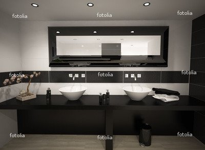 "Wallmonkeys Peel and Stick Wall Graphic - Black and White Bathroom - 24""W x 18""H"
