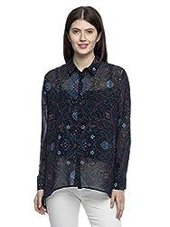 Wisstler Women's Black Georgette Print Shirt Size X-Large