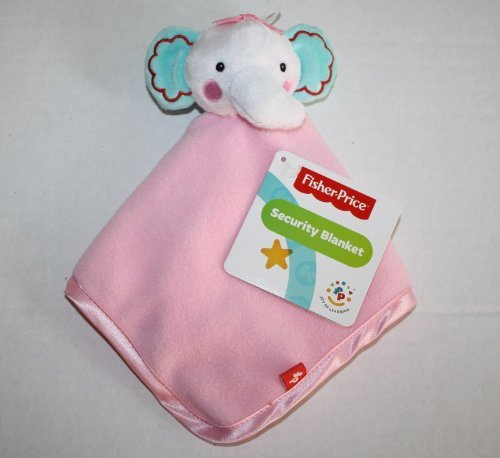 Fisher Price Pink Rainforest Blue White Elephant Baby Girl Security Blanket