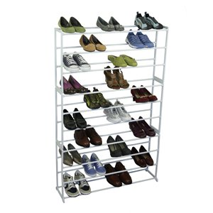 50 Pair Shoe Tower White Storage Rack Metal Shelf Home Organizer Holder