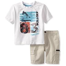 Nautica Baby Boys' 83 Short Set, Sail White, 24 Months