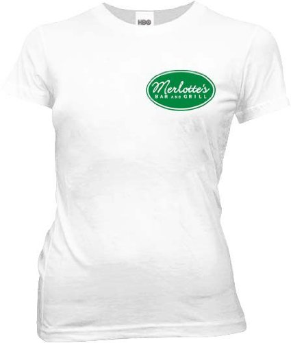 True Blood Merlottes Bar and Grill Juniors White T-shirt Tee