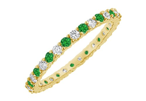 Emerald and Diamond Eternity Bangle 18K Yellow Gold 10.00 CT TGW