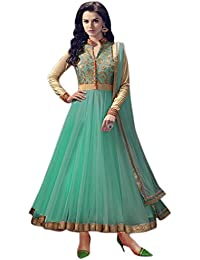 Shiroya Brothers Women's Net Anarkali Salwar Suit Unstitched Regular Wear Dress Material(SB_DM_GREEN_1070_Free...