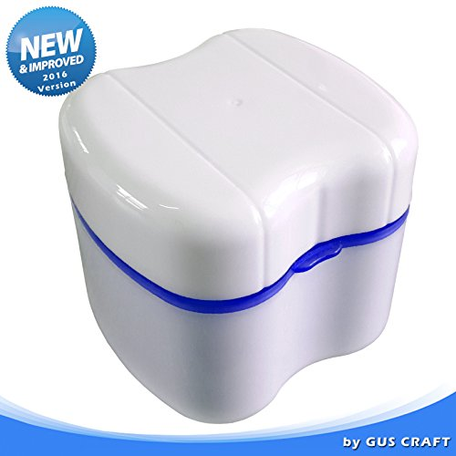 New and Improved! 2016 Version of Blue Denture Box with Opening/Closing Clip, Great for Dental Care, Easy to Open, Store and Retrieve (True Blue) (Seabond Denture Liners compare prices)