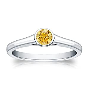 1/4 cttw Bezel set Round-cut Yellow Diamond Solitaire Ring in 18K White Gold, Size 4