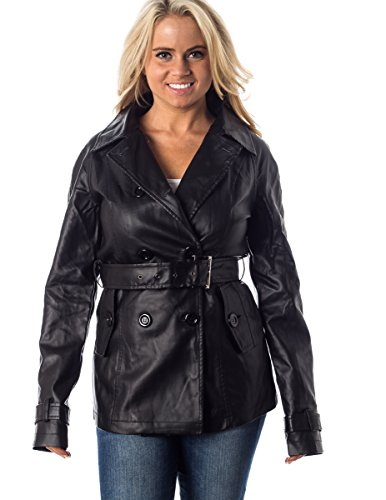 Women's Two-toned Double Breasted Seasonal Coat Jacket L SolidBlack