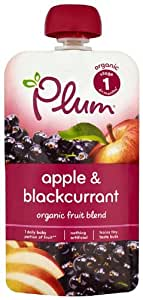Plum Baby Organic Stage 1 Apple and Blackcurrant 100 g (Pack of 8)