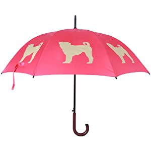 Pug Dog Umbrella Fawn Brown on Red