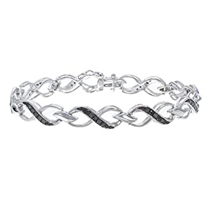 Sterling Silver Black Diamond Bracelet (1 CT) Infinity Style
