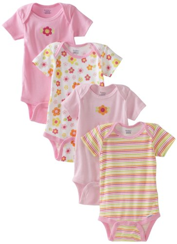 Gerber Baby-Girls Infant 4 Pack Variety Flower Stripes Onesies Brand, Pink/White, 24 Months front-90976