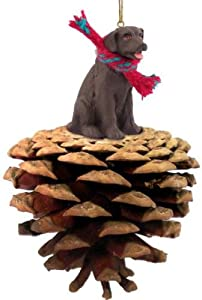 Chocolate Labrador Retriever Dog Pinecone Ornament