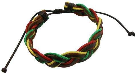 Rasta Style Semi-Adjustable Leather Braid Bracelet
