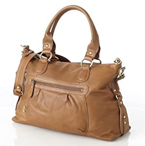 OiOi Tan Leather Slouch Tote Baby Changing Bag with Natural Woven Jacquard Lining and Accessories from OiOi