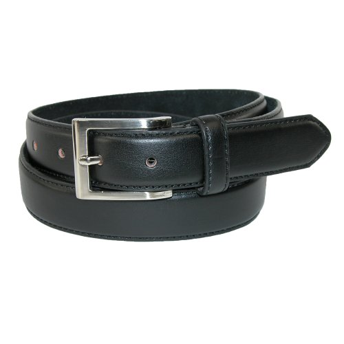 CTM® Mens Big & Tall Leather 1 3/8 Inch Basic Dress Belt with Silver Buckle, 52, Black