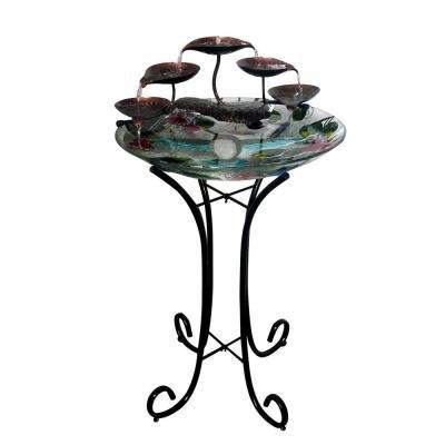 Fusion Glass Birdbath Fountain