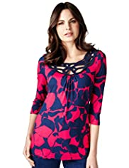 Per Una Cutwork Neckline Abstract Print Tunic