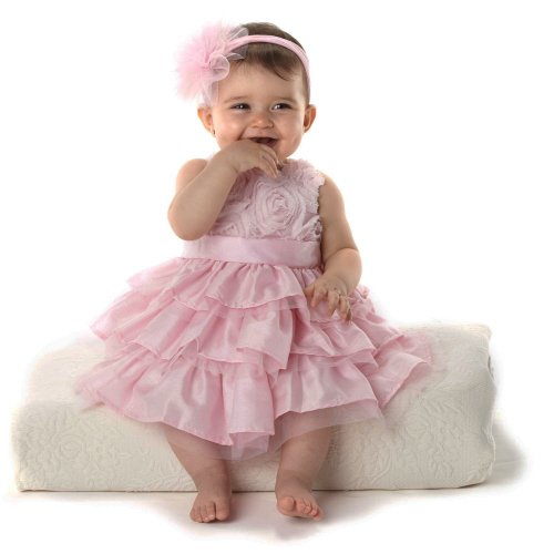 Mud Pie Baby Girl Pink Silk Dress (0-6 Months)