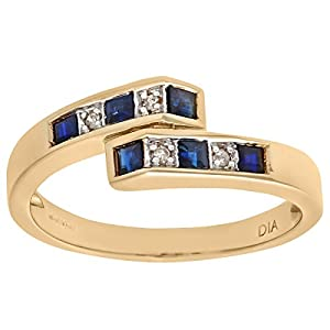 Ariel Women's 9ct Yellow Gold Diamond and Sapphire Crossover Ring