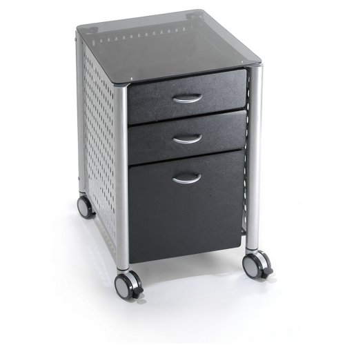 Innovex Glass Mobile Filing Cabinet, Black
