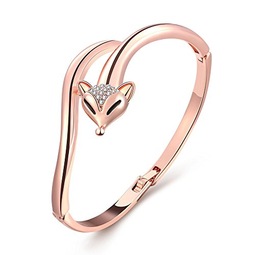 iCAREu Rose Gold Plated Personalized Fox Bangle with Czechic Diamond (Peter Pan Hair Bow compare prices)