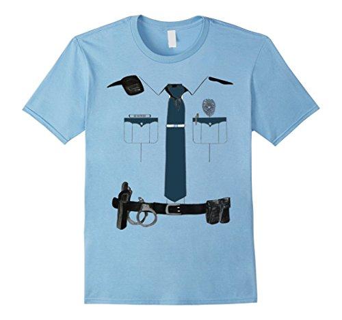 Men's Police Cop Uniform Boys and Girls Halloween Costume T-Shirt Small Baby Blue (Cop Uniform Halloween)