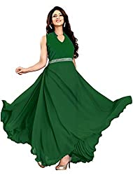 Suchi Fashion Green Georgette and Velvet Stitched Floor Length Party Wear Gown