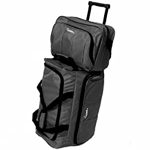 Lightweight Luggage Set of 20'' Wheeled Holdall & 14'' Flight Bag (Black)