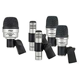 CAD Five-Piece Drum Microphone Set with 2 Tom/Snare Microphones, 1 Kick Microphone, and 2 Overhead Condenser Microphones
