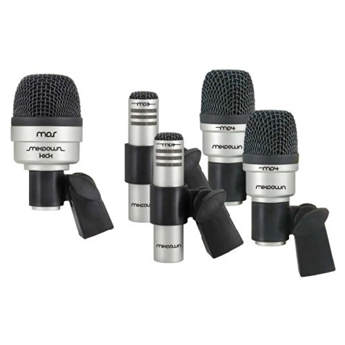 Cad Mix Down Drum 5 Microphone Set For Drums Including 2 Tom/Snare Mics, 1 Kick Mic, And 2 Overhead Condenser Mics