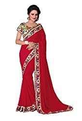 Fashion205 Women Chiffon Saree (TOK-AR7-1027_Red_Red_Free Size)