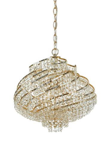 AF Lighting 7742-4H Lyric Candle Base Mini Chandelier, Gold Plated Frame, Clear Glass Accents