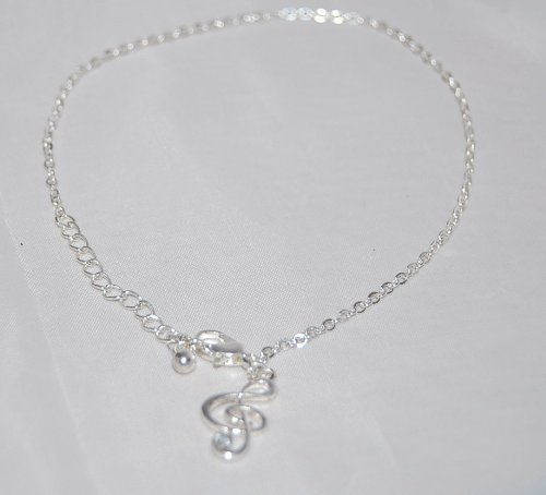 Silver Tone Music Sign Anklet (Supplied in a Gift Pouch) Unique Jewellery