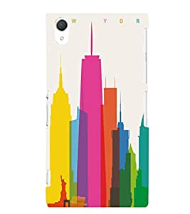 MULTICOLOURED SKETCH OF A METRO TOWN 3D Hard Polycarbonate Designer Back Case Cover for Sony Xperia Z2 :: Sony Xperia Z2 L50W D6502 D6503